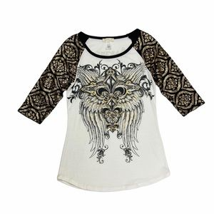 BKE Angels And Diamonds T-shirt Wings Sequins M